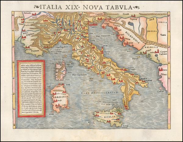 Italy Map By Sebastian Münster