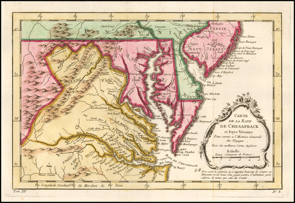 95-Maryland, Delaware, Southeast and Virginia Map By Jacques Nicolas Bellin