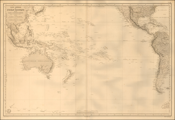 17-Pacific Ocean and Pacific Map By Depot de la Marine