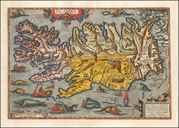 38-Iceland Map By Abraham Ortelius