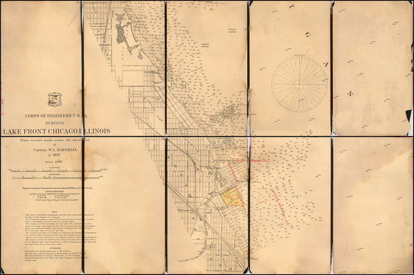 Illinois, Indiana and Chicago Map By U.S. Army Corps of Topographical Engineer