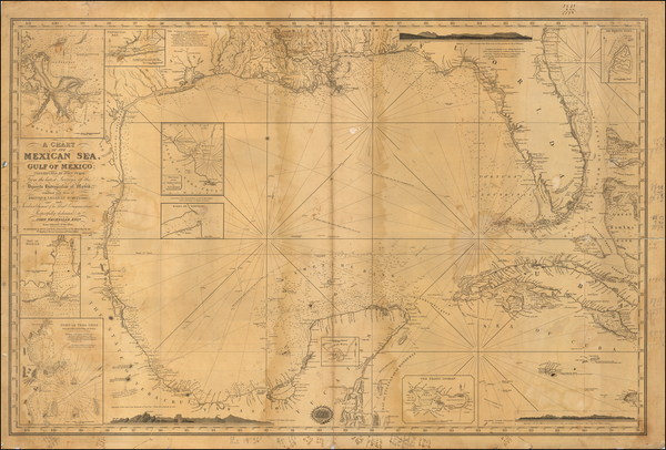 56-Florida, South, Texas, Caribbean and Other Islands Map By Richard Holmes Laurie