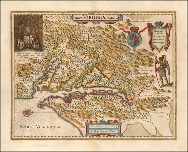 96-Mid-Atlantic, Southeast and Virginia Map By Willem Janszoon Blaeu