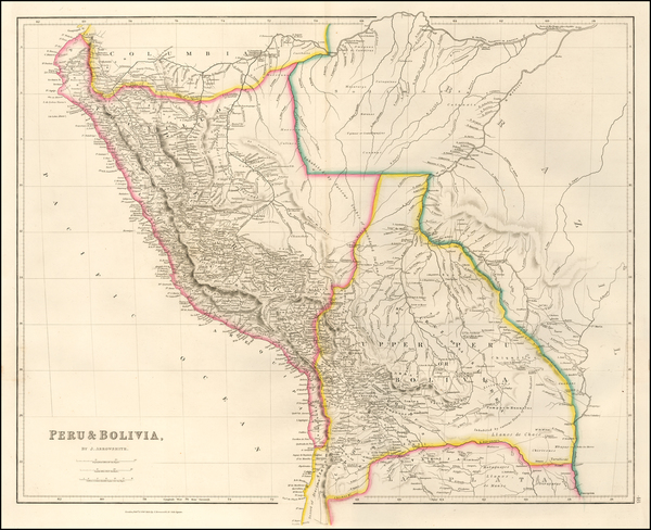 58-Paraguay & Bolivia and Peru & Ecuador Map By John Arrowsmith