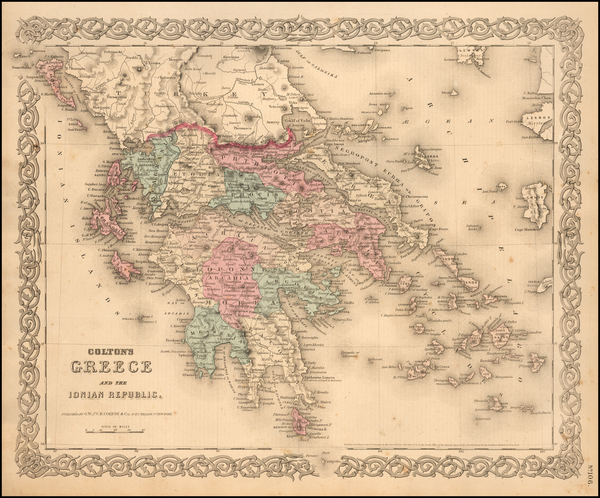 57-Europe, Greece and Balearic Islands Map By G.W.  & C.B. Colton