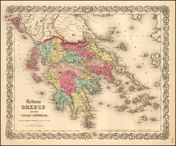 74-Greece Map By Joseph Hutchins Colton