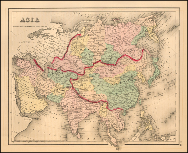 58-Asia and Asia Map By Joseph Hutchins Colton