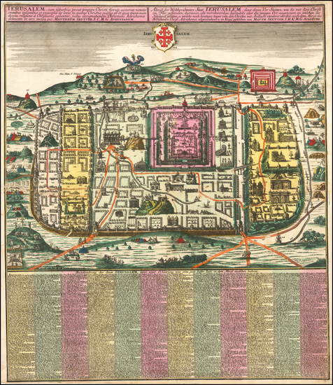 64-Holy Land and Jerusalem Map By Matthaus Seutter