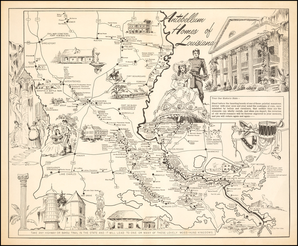 58-Louisiana and Pictorial Maps Map By Louisiana Department of Highways / Carl Vernon Corley