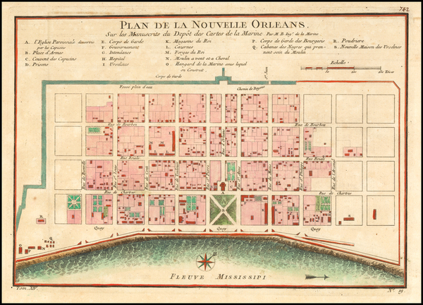 91-Louisiana Map By Jacques Nicolas Bellin