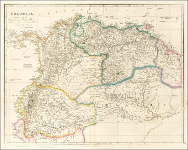 8-Colombia, Guianas & Suriname, Peru & Ecuador and Venezuela Map By John Arrowsmith