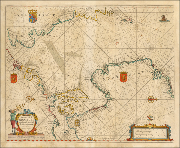 42-British Isles, Netherlands, Scandinavia, Norway and Denmark Map By Pieter Goos