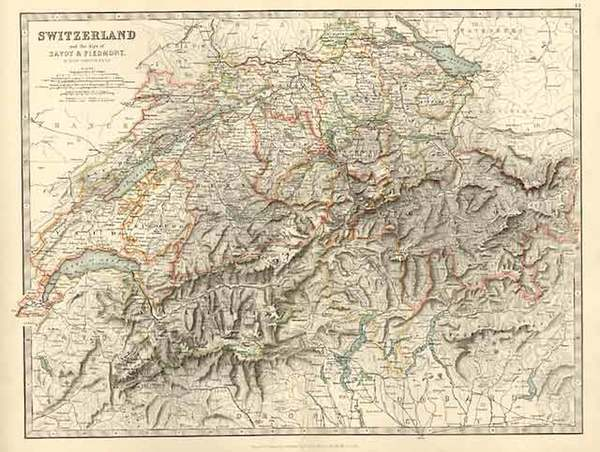 45-Europe, Switzerland and Italy Map By W. & A.K. Johnston