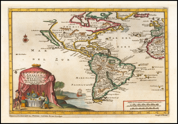 95-South America and America Map By Pieter van der Aa