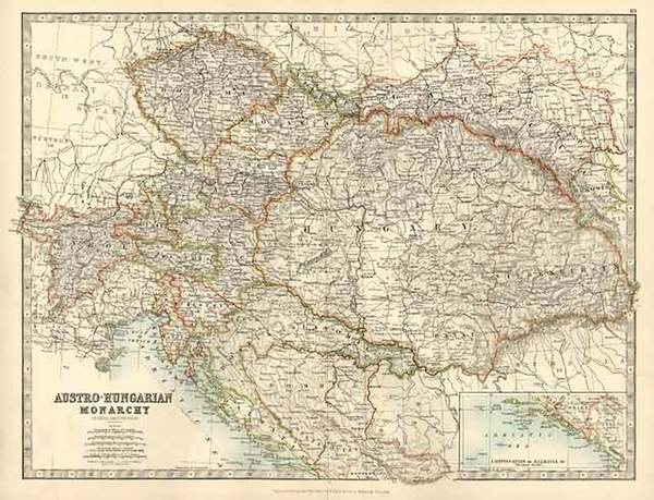 0-Europe, Austria, Hungary, Czech Republic & Slovakia and Balkans Map By W. & A.K. Johnst