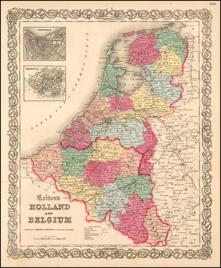 7-Netherlands Map By Joseph Hutchins Colton