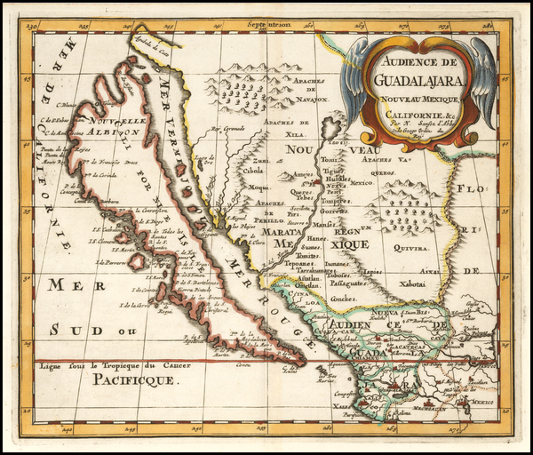 36-Southwest, Baja California, California and California as an Island Map By Nicolas Sanson
