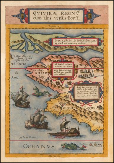 74-Polar Maps, Alaska, Canada and California Map By Cornelis de Jode