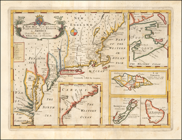 16-United States, New England, Mid-Atlantic, Canada and Caribbean Map By Edward Wells