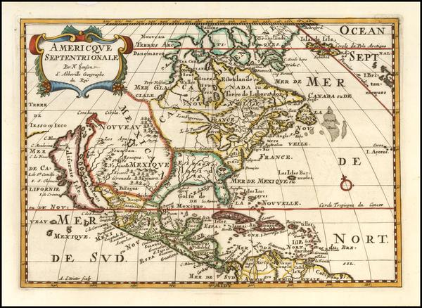 24-North America and California as an Island Map By Nicolas Sanson
