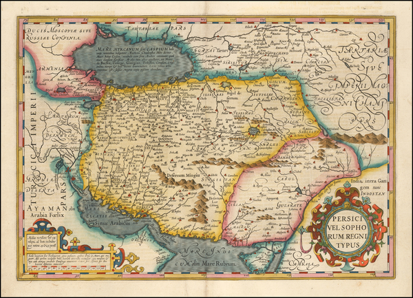 5-Middle East and Persia Map By Jodocus Hondius