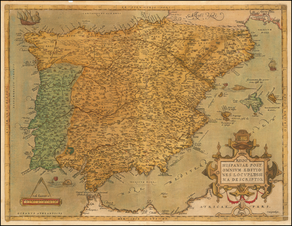 61-Spain and Portugal Map By Abraham Ortelius