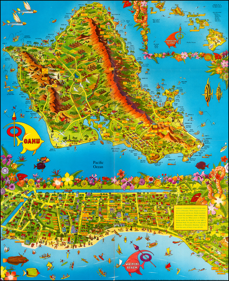91-Hawaii and Hawaii Map By Don Bloodgood