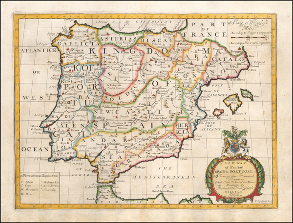 Spain and Portugal Map By Edward Wells