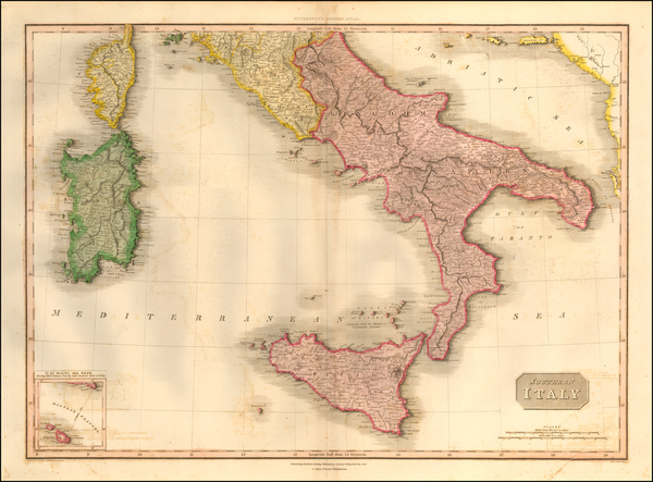 89-Italy and Southern Italy Map By John Pinkerton
