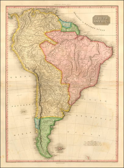 60-South America Map By John Pinkerton
