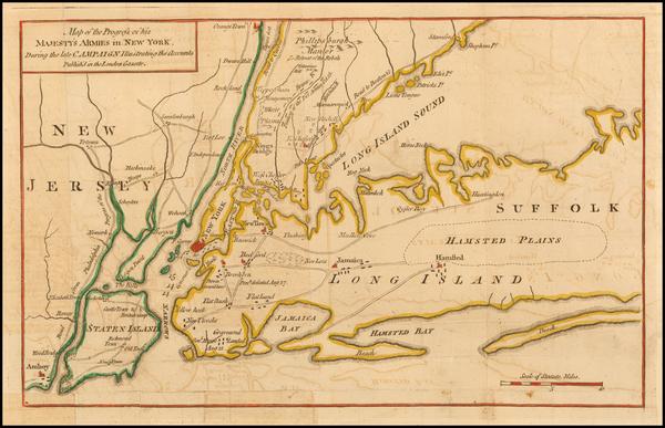48-New York City and New York State Map By Gentleman's Magazine