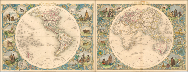 60-World, Eastern Hemisphere, Western Hemisphere, South America and America Map By John Tallis