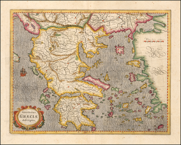95-Greece Map By  Gerard Mercator