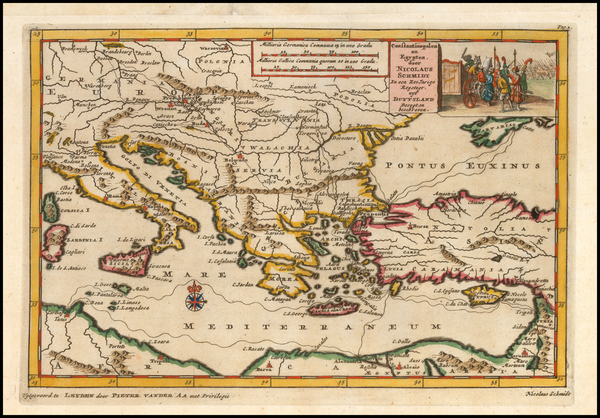 3-Balkans, Italy, Turkey, Mediterranean, Holy Land and Turkey & Asia Minor Map By Pieter van