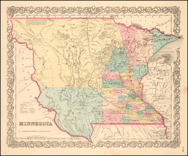 48-Midwest, Minnesota, Plains, North Dakota and South Dakota Map By Joseph Hutchins Colton