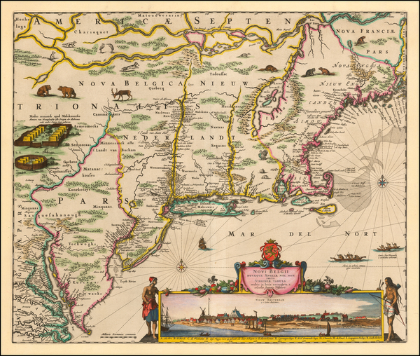 83-New England, New York State, Mid-Atlantic and Virginia Map By Nicolaes Visscher I