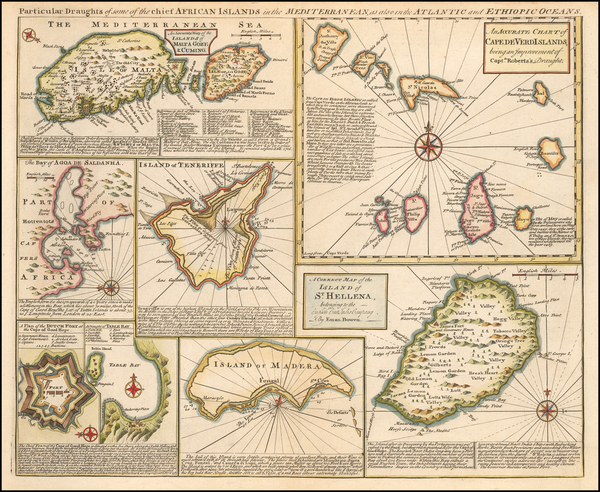 65-Malta and African Islands, including Madagascar Map By Emanuel Bowen