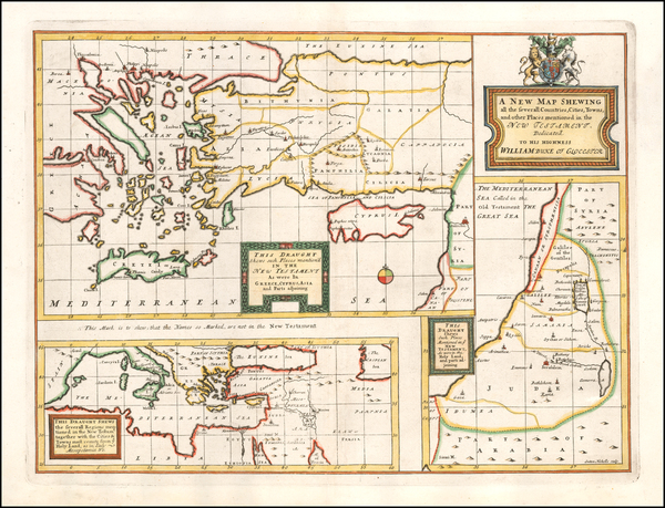93-Mediterranean, Holy Land and Turkey & Asia Minor Map By Edward Wells