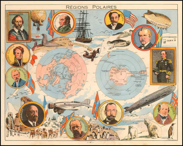 Polar Maps and Pictorial Maps Map By Joseph Porphyre Pinchon