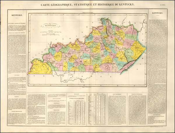 0-South and Kentucky Map By Jean Alexandre Buchon