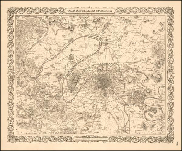 22-Paris Map By Joseph Hutchins Colton