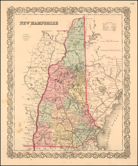 72-New Hampshire Map By Joseph Hutchins Colton