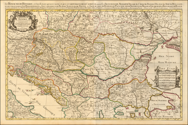 Poland, Hungary and Balkans Map By Alexis-Hubert Jaillot