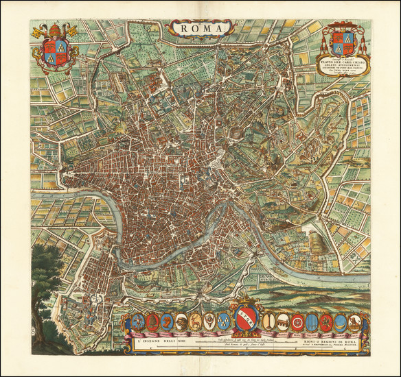 85-Rome Map By Willem Janszoon Blaeu / Cornelis Mortier