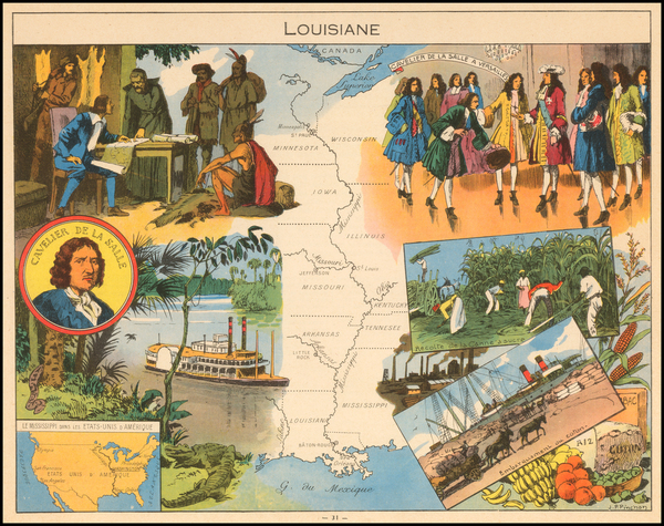 98-South, Louisiana, Midwest and Plains Map By Joseph Porphyre Pinchon