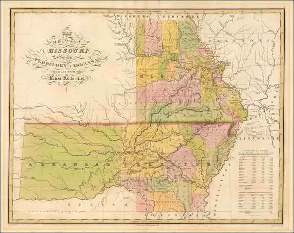 67-South, Arkansas, Plains, Missouri and Oklahoma & Indian Territory Map By Anthony Finley
