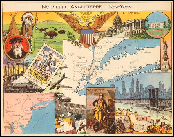 New England, New York City, New York State and Pictorial Maps Map By Joseph Porphyre Pinchon