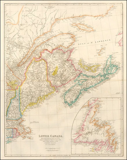 38-New England, Maine and Canada Map By John Arrowsmith