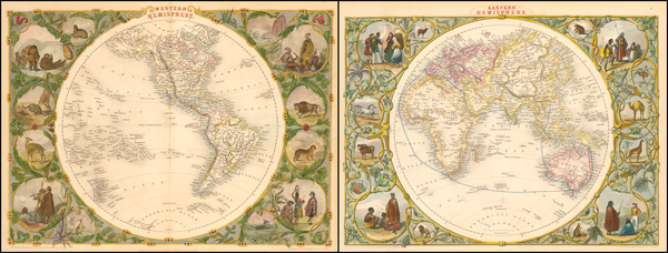 88-World, Eastern Hemisphere, Western Hemisphere, South America and America Map By John Tallis