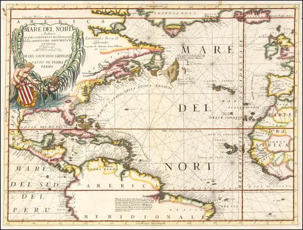 34-Atlantic Ocean, North America, South America and America Map By Vincenzo Maria Coronelli